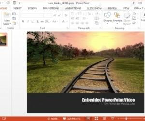 Train Tracks PowerPoint Template With Video Animation