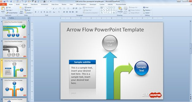 Veritcal arrow layout for PowerPoint presentations, table and caption