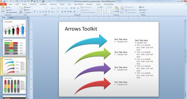 free curved arrows powerpoint template