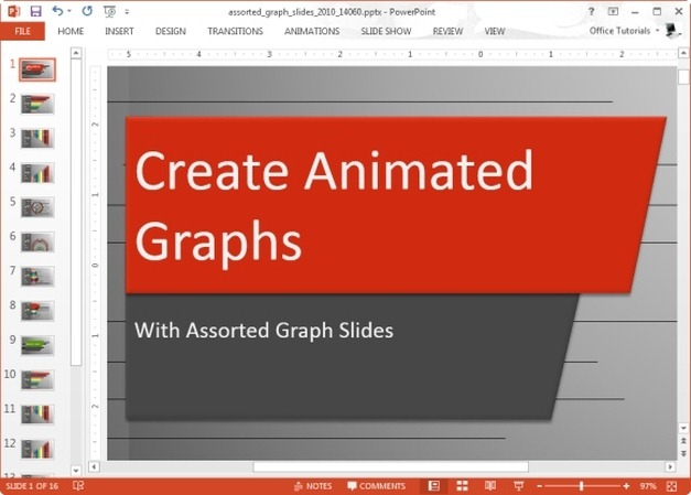 assorted graph slides animated template for powerpoint