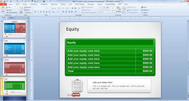 Balance Sheet Template for PowerPoint - Equity Slide Design