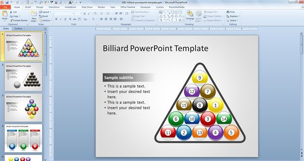 15 Billiard Colorful Balls in a PowerPoint Presentation Template