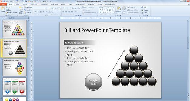 15 Black Billiard Balls in a PowerPoint Template