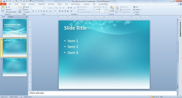 Wavy Blue PowerPoint Template blue Sky templates