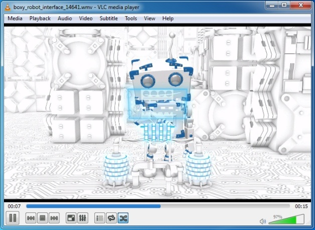 boxy robot interface video animation