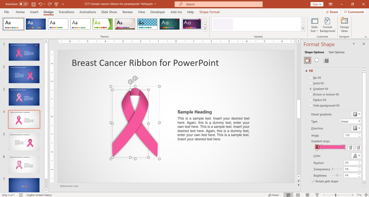 Editable Breast Cancer Ribbon PowerPoint Template with editable shapes