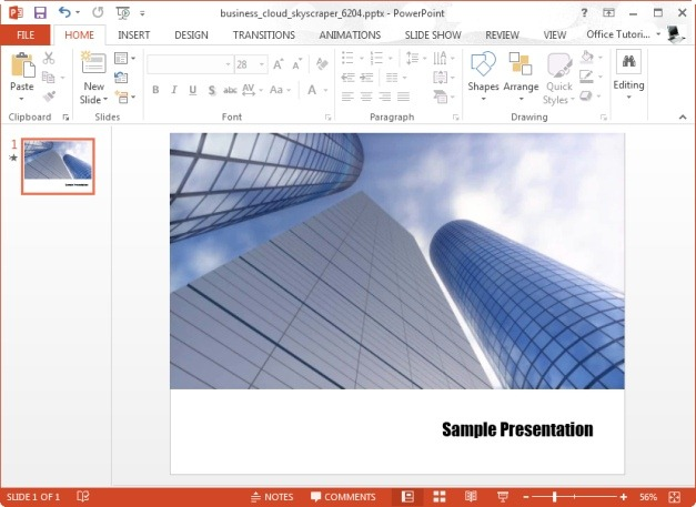 business cloud skyscrapper template for powerpoint