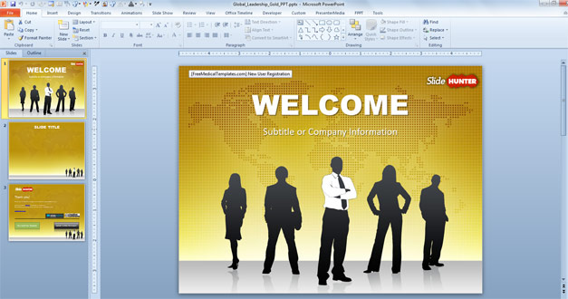 Free business PPT template with gold background design