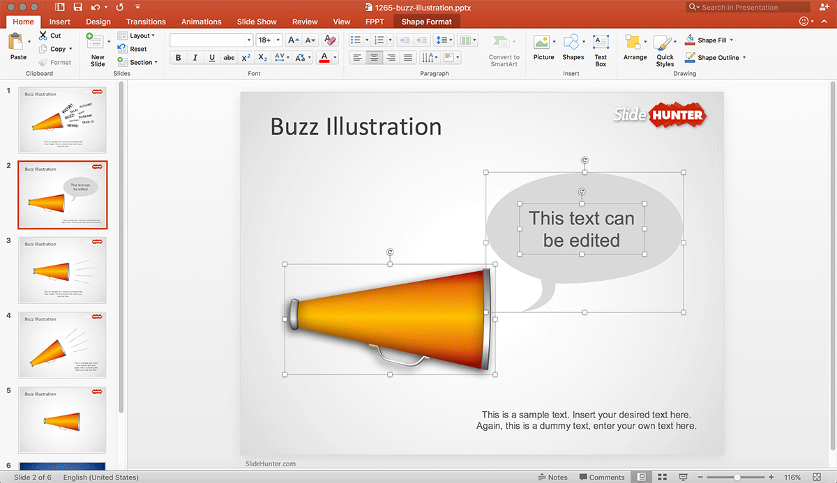 Buzz Illustration PowerPoint shapes