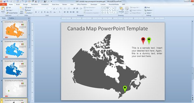 Free Canada Map PowerPoint Template