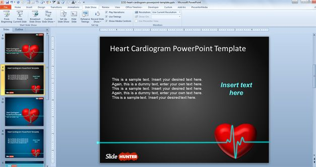 Heart Cardiogram Animated PowerPoint Template