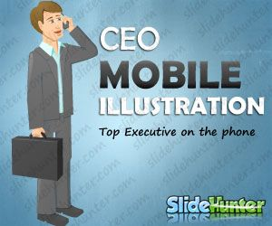 CEO Mobile Cartoon Illustration for PowerPoint Presentations
