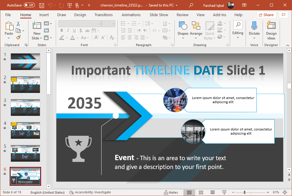 chevron design timeline for powerpoint