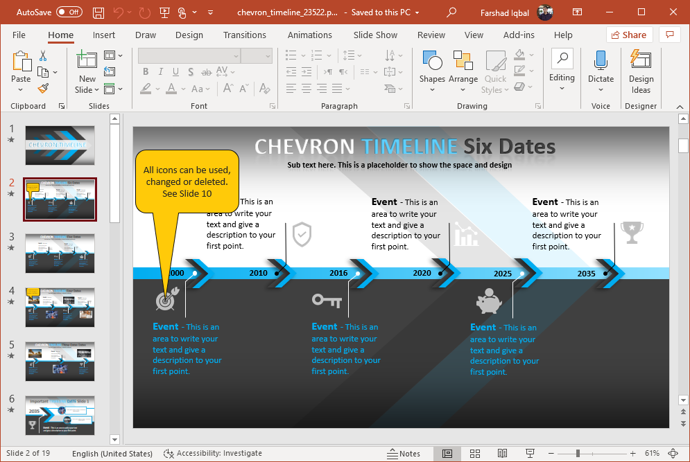 chevron timeline for powerpoint