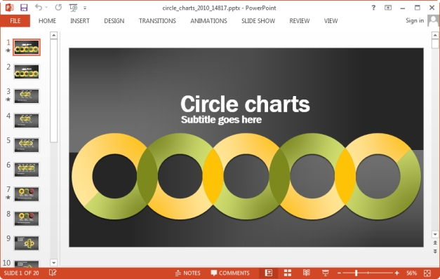 circle charts template for powerpoint