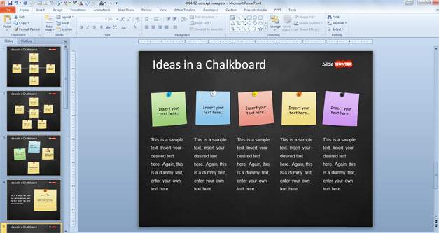 PowerPoint template with sticky notes in the slide design