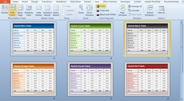 Free Table Templates for PowerPoint