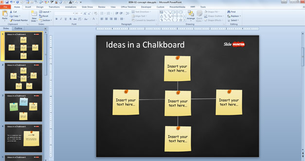 PowerPoint template with sticky notes in a PowerPoint blackboard