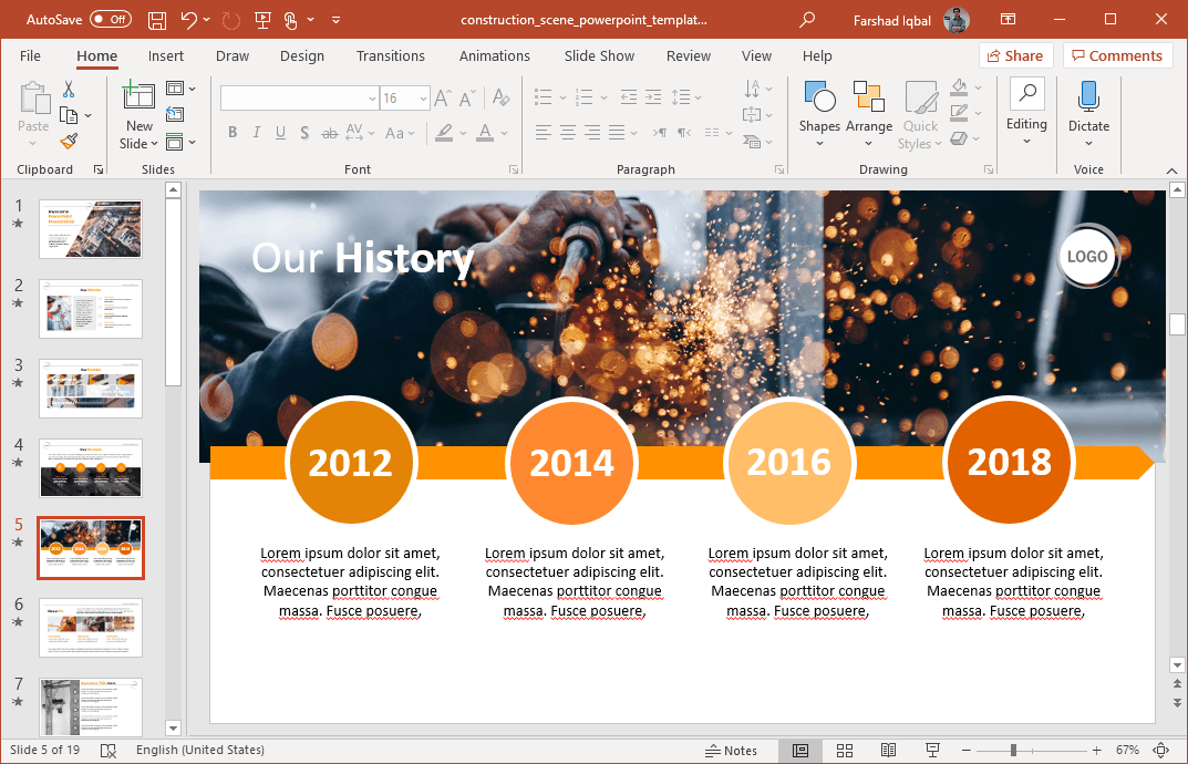 construction timeline for powerpoint