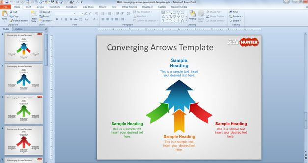 Free Converging Arrows Powerpoint Template Free Powerpoint