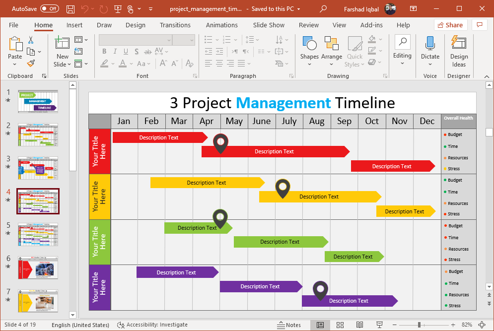 create a project gantt chart