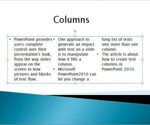 Create Text Columns in PowerPoint 2010