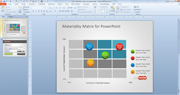 CSR Materiality Matrix for PowerPoint with bubbles