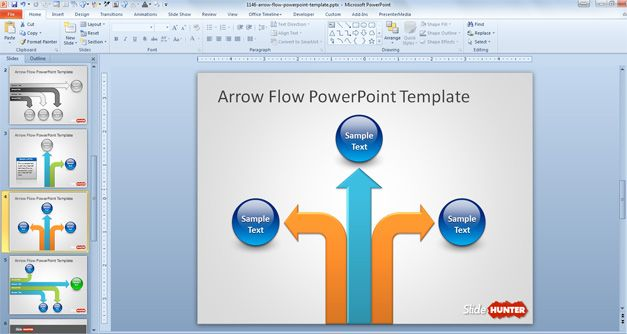 Arrow Flow PowerPoint template with vertical arrow style and layout combining spheres with captions and arrows for presentations