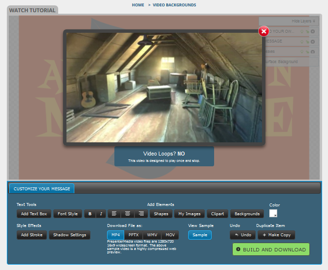 customizable attic video background for powerpoint