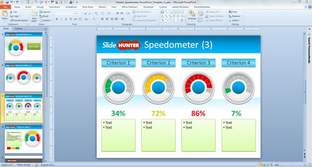 editable speedometer powerpoint template