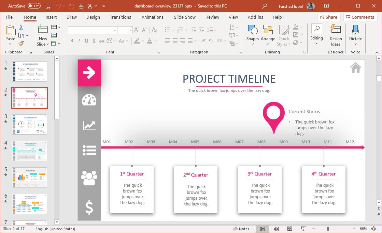 dashboard project timeline