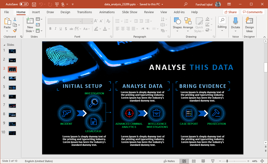 data analysis infographic slides