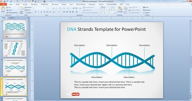 free genetic PowerPoint template with DNA strand