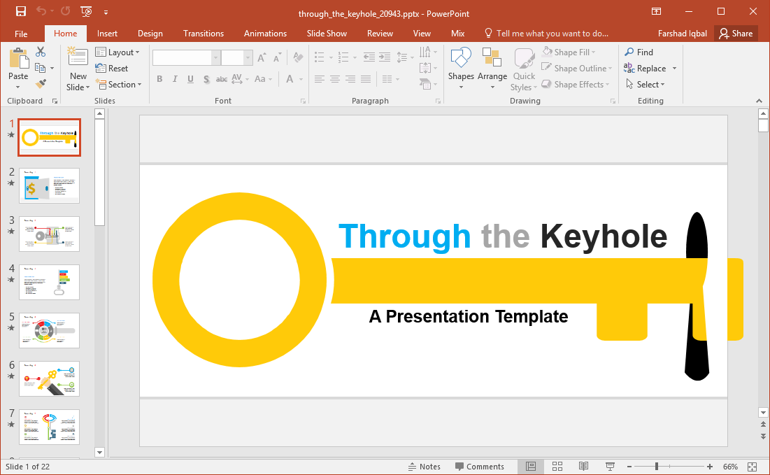 door and key powerpoint template