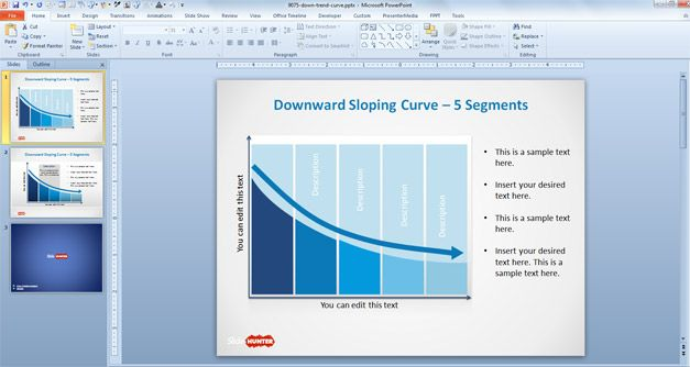 Downward Sloping Curve Template for PowerPoint