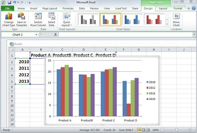 Drawing Lines Between Cells In Excel : Create a chart in microsoft excel