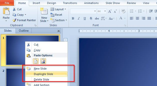 duplicate the slide multiple times in Microsoft PowerPoint 2010