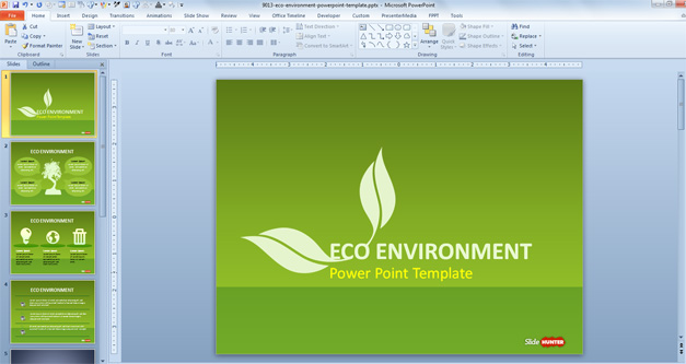 Cover image used for Green Sustainability PowerPoint Template with Green Leaves and Green background
