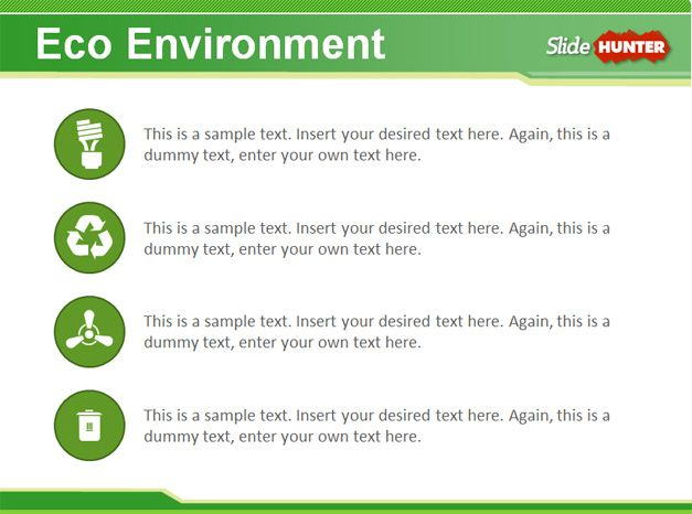 sustainability eco green project powerpoint with diagrams and layouts