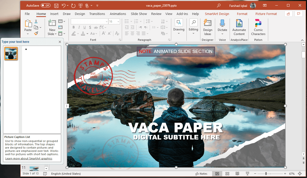 editable vacation postcard slide design
