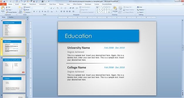 resume format  powerpoint cv presentation template