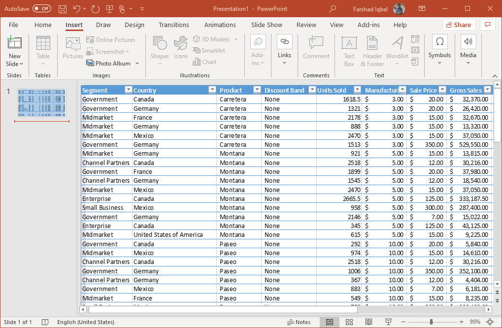 excel data in powerpoint