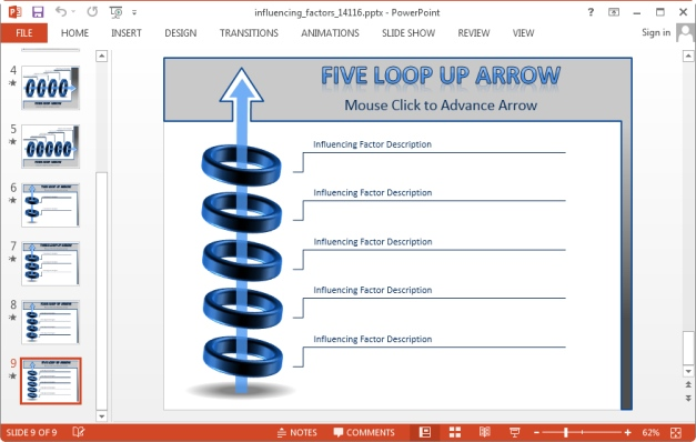 five loop animated arrow