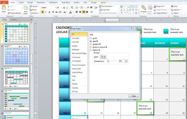 Calendar Design Powerpoint : Create a calendar in powerpoint with shapes and tables