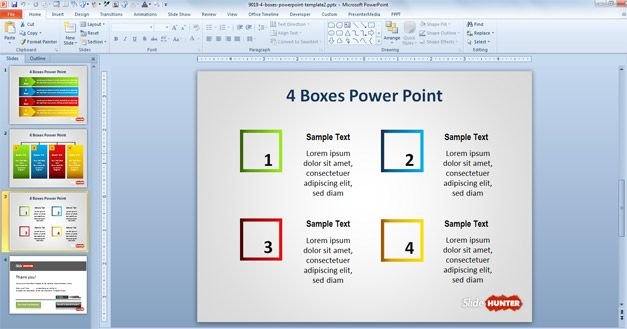 Four boxes diagram in PowerPoin