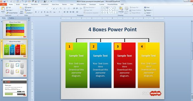 Example of four columns in PowerPoint template