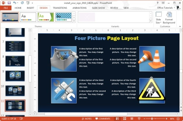 four picture powerpoint layout