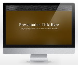 Widescreen Executive Leather PowerPoint Template Brown