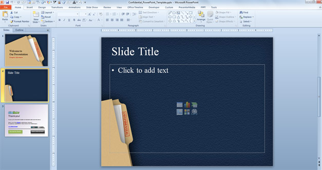 Internal slide design of confidential folder for PowerPoint