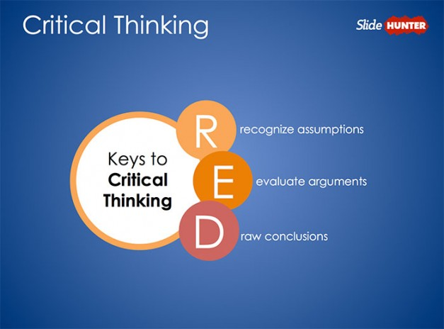 Free Critical Thinking PowerPoint template design inspired by Pearson's RED Critical Thinking Model